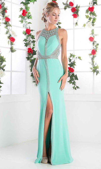 Cinderella Divine - CR752 Long Beaded Halter Dress In Green