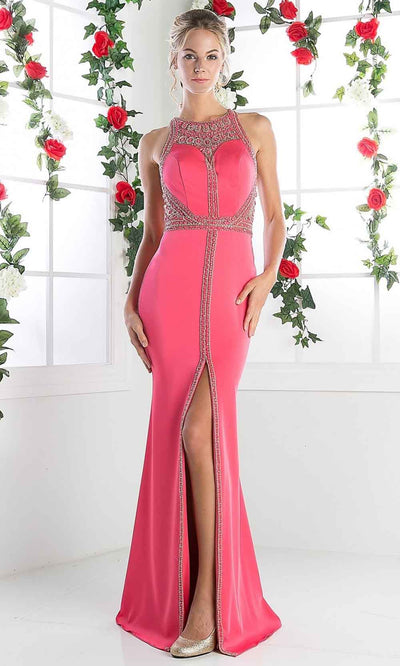 Cinderella Divine - CR752 Long Beaded Halter Dress In Pink
