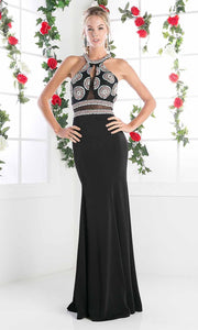 Cinderella Divine - CR754 Long Halter Beaded Gown In Black