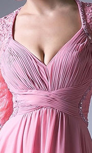 Cinderella Divine - RV774 V Neck Laced Long Dress In Pink