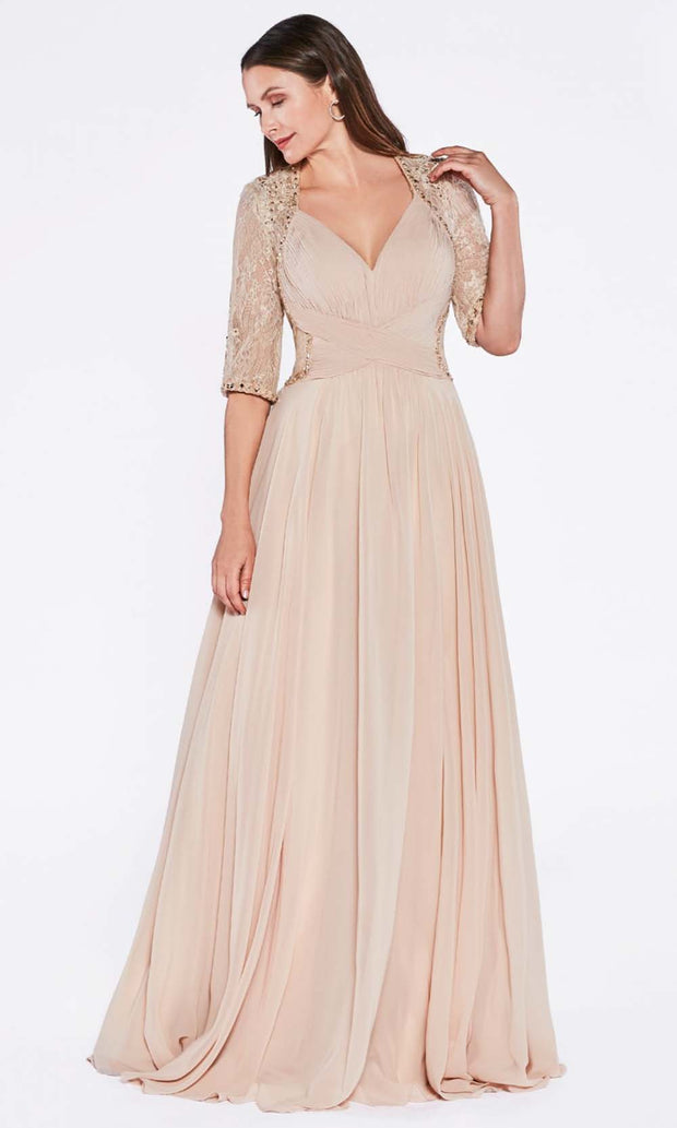 Cinderella Divine - RV774 V Neck Laced Long Dress In Neutral