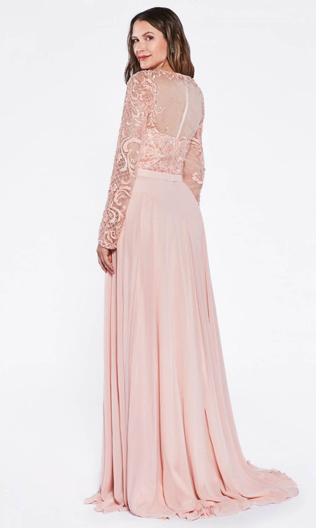 Cinderella Divine - CR780 Lace Long Sleeve Dress In Pink