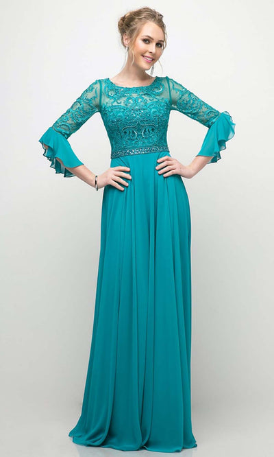 Cinderella Divine - CR781 Elbow Sleeve Lace Dress In Green