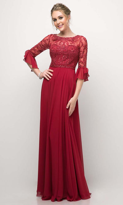 Cinderella Divine - CR781 Elbow Sleeve Lace Dress In Burgundy