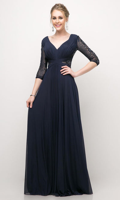 Cinderella Divine - CR785 Beaded Elbow Sleeve Dress In Blue