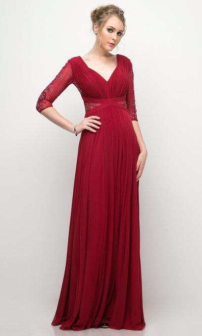 Cinderella Divine - CR785 Beaded Elbow Sleeve Dress In Burgundy