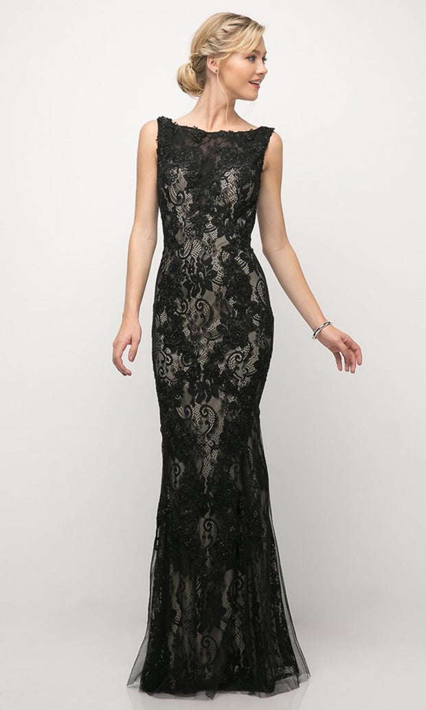 Cinderella Divine - CR788 Lace Sheath Evening Dress In Black
