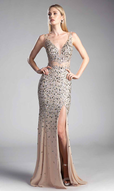 Cinderella Divine - CR805 Fitted Beaded Long Gown In Gold