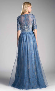 Cinderella Divine - CR813 Embroidered A-Line Dress In Blue