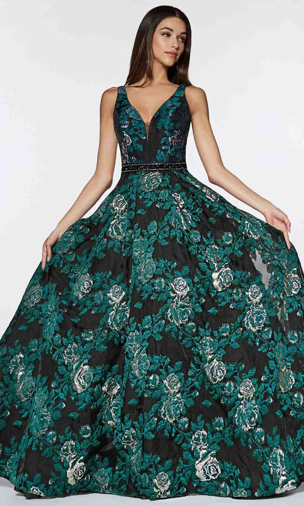 Cinderella Divine - CR821 Floral V Neck Ballgown In Black and Green