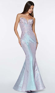 Cinderella Divine - CR824 Metallic Mermaid Gown In Blue