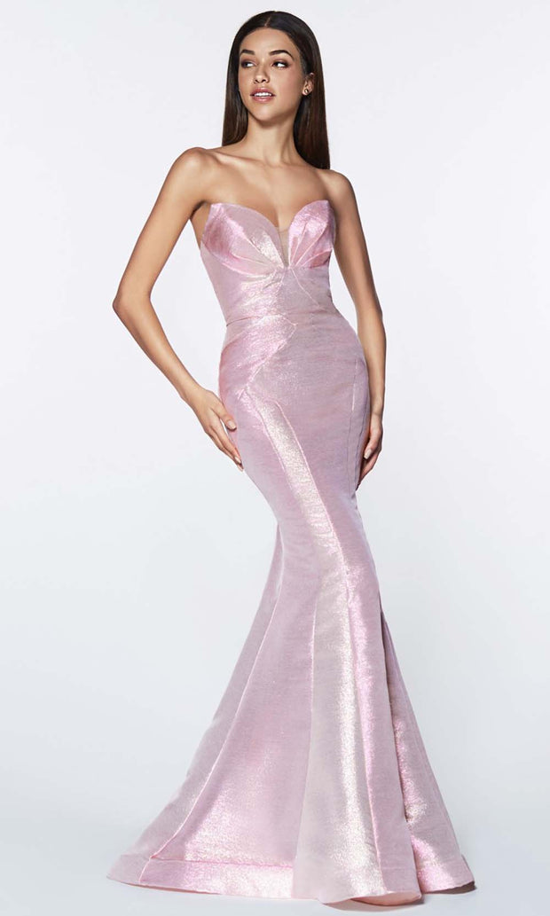 Cinderella Divine - CR824 Metallic Mermaid Gown In Pink