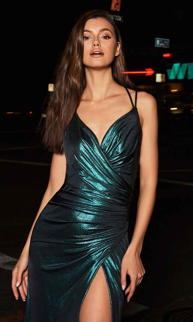 Cinderella Divine - CR825 Metallic Sheath Dress In Green
