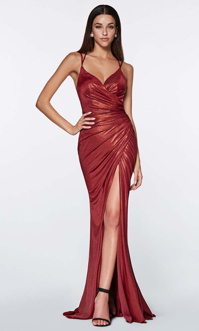 Cinderella Divine - CR825 Metallic Sheath Dress In Burgundy