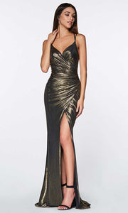 Cinderella Divine - CR825 Metallic Sheath Dress In Champagne