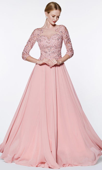Cinderella Divine - CR832 Illusion Bateau A-Line Dress In Pink