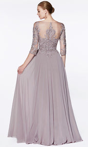 Cinderella Divine - CR832 Illusion Bateau A-Line Dress In Purple and Gray