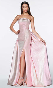Cinderella Divine - CR834 Metallic Bateau Neck Dress In Pink