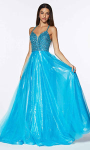 Cinderella Divine - CR835 Beaded A-Line Dress In Blue