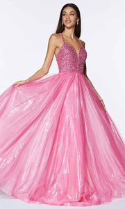Cinderella Divine - CR835 Beaded A-Line Dress In Pink