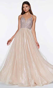 Cinderella Divine - CR835 Beaded A-Line Dress In Champagne
