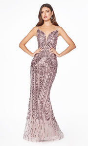 Cinderella Divine CR843 mauve sequin mermaid dress