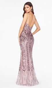 Cinderella Divine CR843 mauve sequin mermaid dress with low open back