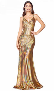 Cinderella Divine - CR847 Metallic Ruched Dress In Gold