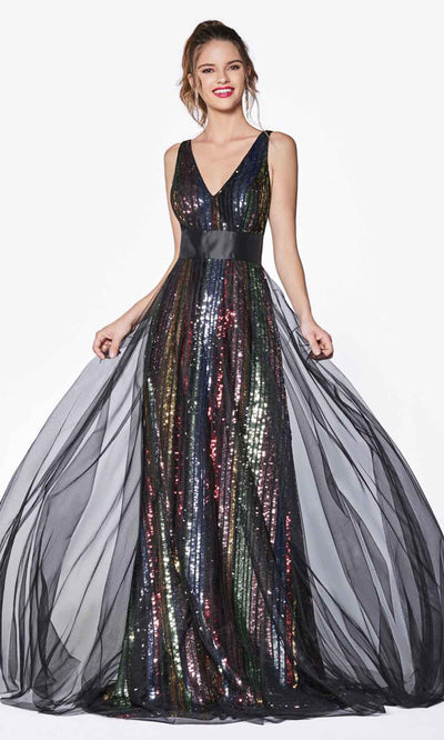 Cinderella Divine - CS033 Multicolor Striped Dress In Black