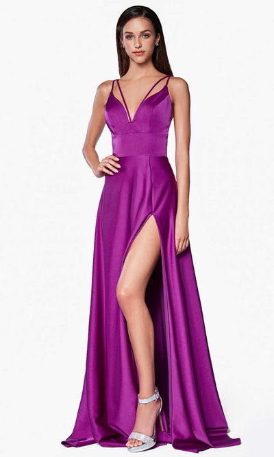 Cinderella Divine - CS034 Double Strap A-Line Gown In Purple