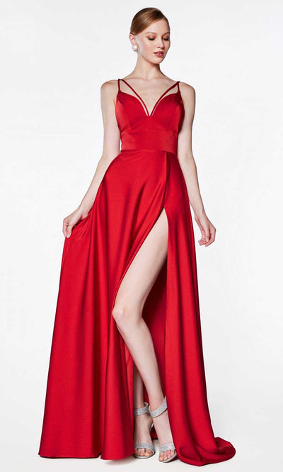 Cinderella Divine - CS034 Double Strap A-Line Gown In Red