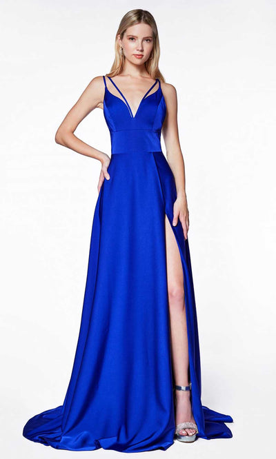Cinderella Divine - CS034 Double Strap A-Line Gown In Blue