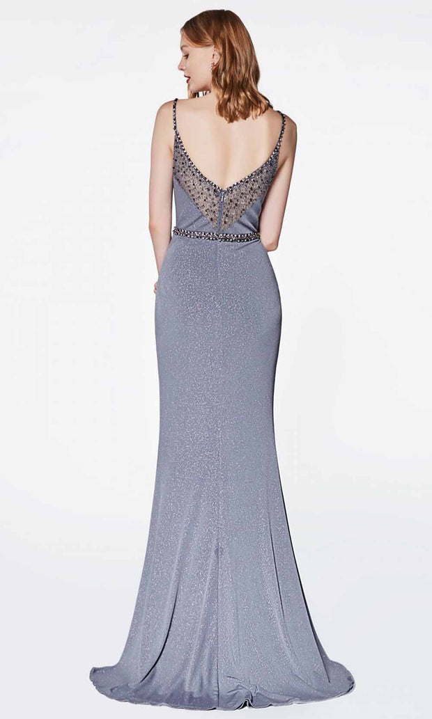 Cinderella Divine - CS035 Ruched Sheath Gown In Gray