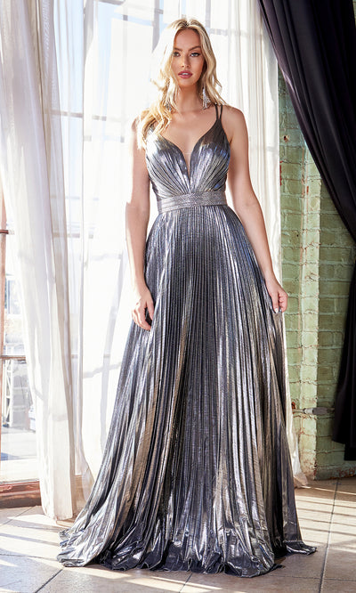 Cinderella Divine CW230 long dark silver flowy evening dress