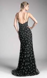 Cinderella Divine - CZ0012 Beaded V Neck Gown In Black
