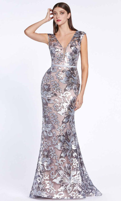 Cinderella Divine - CZ0017 Sequined Floral Long Gown In Purple and Gray