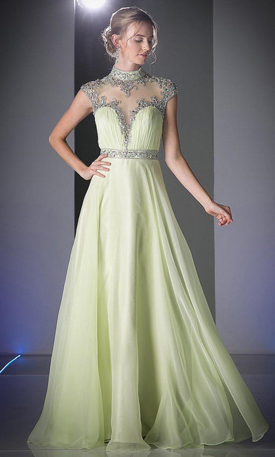 Cinderella Divine - C216 Beaded High Neck A-Line Gown In Green