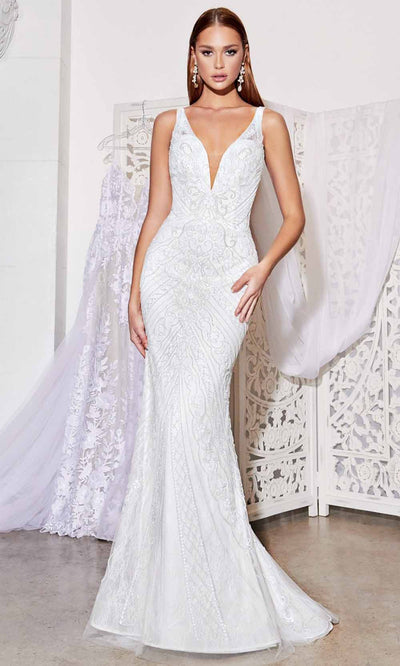 Cinderella Divine - EW115 Fitted Beaded Gown In White