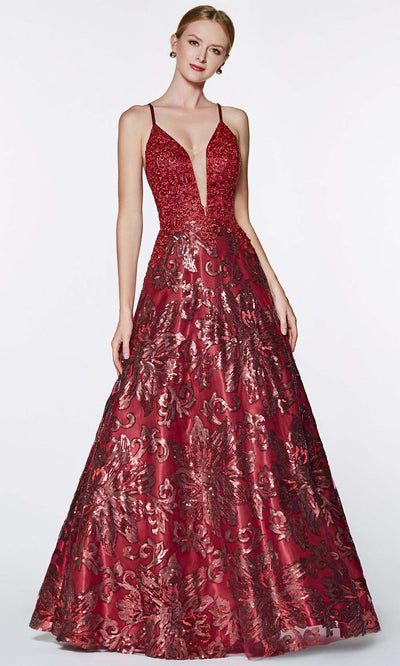 Cinderella Divine - ML923 V Neck Embellished Gown In Red and Black