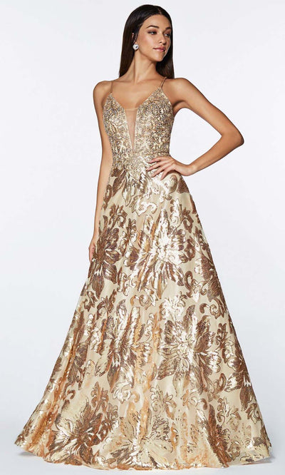 Cinderella Divine - ML923 V Neck Embellished Gown In Neutral