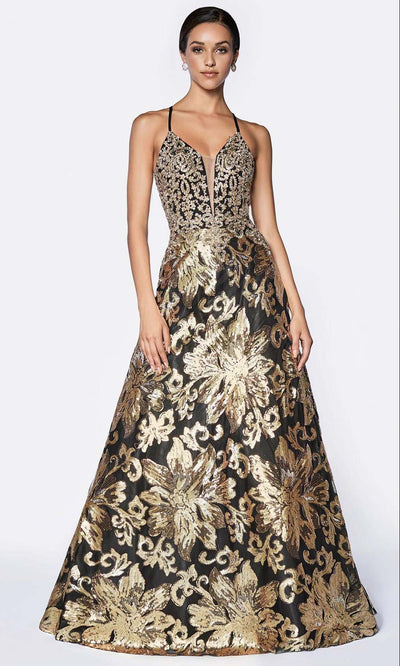 Cinderella Divine - ML923 V Neck Embellished Gown In Gold and Black