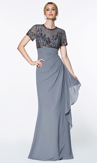 Cinderella Divine - J0295 Embellished Empire Dress In Gray
