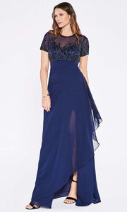 Cinderella Divine - J0295 Embellished Empire Dress In Blue
