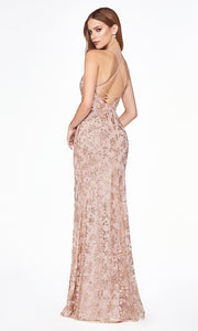 Cinderella Divine J2150 long rose gold sequin dress with high slit and open back - back
