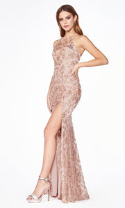 Cinderella Divine J2150 long rose gold sequin dress with high slit and open back