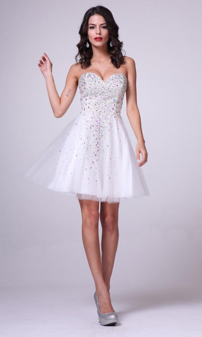 Cinderella Divine - J7007 Sweetheart A-Line Dress In White