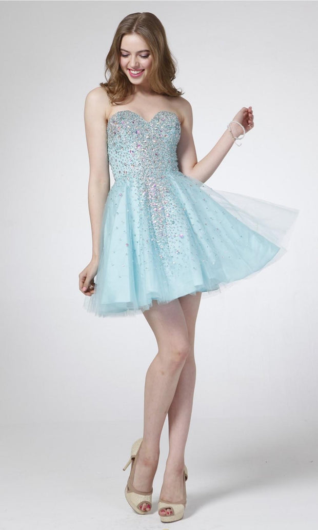 Cinderella Divine - J7007 Sweetheart A-Line Dress In Blue
