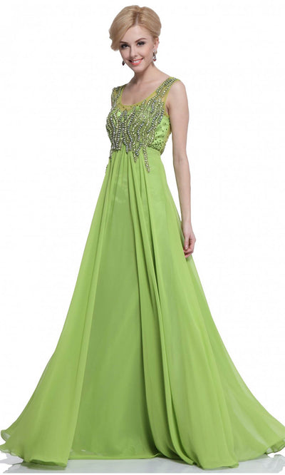 Cinderella Divine - J733 Beaded Chiffon Dress In Green