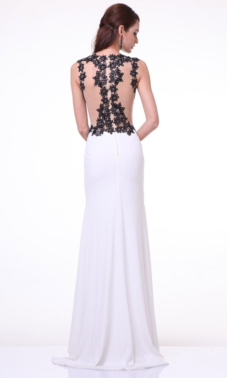 Cinderella Divine - J736 Beaded Lace Sheath Dress In White