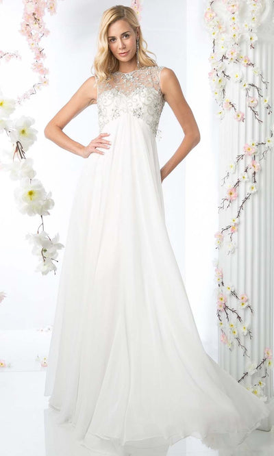 Cinderella Divine - J741 Beaded Chiffon Dress In White